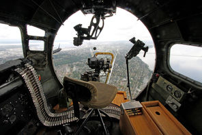 This view of Seattle and Lake Washington is from the nose of a World War II era B-17F visiting Boeing Field outside the Museum of Flight this weekend. Rides on the B-17 and other aircraft will be available to the public for a fee.