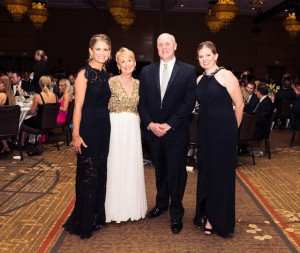 Left to right: co-chair of Overlake Medical Center's 29th annual Bandage Ball gala Merrill Behnke; major Overlake supporter and former gala co-chair Patty Edwards, Overlake Medical Center CEO Mike Marsh, and 2016 gala co-chair Dr. Tara Reimera at the Hyatt Regency Bellevue ballroom on May 14 for the gala, which raised more than $1.26 million, a record for this event.